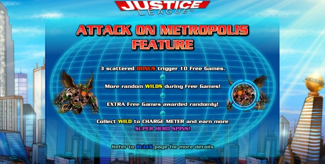 Игра Justice League - бонус Attackon Metropolis Feature