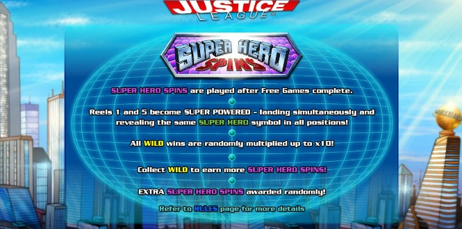 Игра Justice League - бонус Super Hero Spins