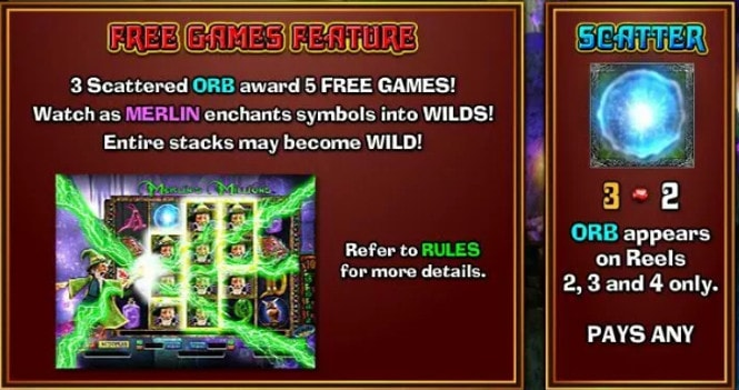 Merlins Millions Superbet - бонус Free Games Feature