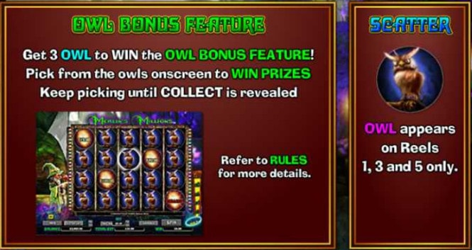 Merlins Millions Superbet - бонус Owl Bonus Feature